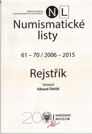 Numismatické listy 61–70/2006–2015. Rejstřík